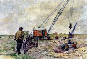 XXXI-597-110-01 Gezicht op het leggen van een olieleiding in de Scheurpolder, te Rozenburg uit het oosten.