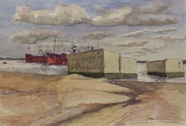XXXI-597-24-02-01 De Botlek met betonblokken en schepen, van de Botlekweg, uit het zuidwesten.