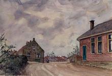 XXXI-597-87 Huizen op de Kerkedijk bij het buurtschap Blankenburg, gezien uit het oosten.