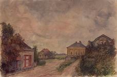 XXXI-597-89-01 Huizen aan de Kerkedijk bij het buurtschap Blankenburg voorbij het Veerpad, gezien uit het westen.