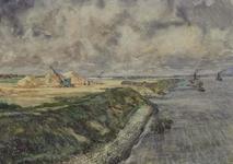 XXXI-608-03-45 Het afgraven van de Welplaat tot industrieterrein van de Botlekbrug. Met op de voorgrond de Oude Maas.