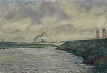 XXXI-608-03-46 Insteekhaven op Welplaat, uit het westen. Rechts de Botlekbrug, op de achtergrond een pijpleiding voor ...