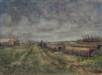 XXXI-608-03-47-1 De Welplaat met de laatste boerderijen, op de voorgrond rechts draineerbuizen.