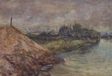 XXXI-608-03-47-2 Gezicht op de Welplaat met kreek gezien uit het westen, links op de achtergrond de Vondelingenplaat.