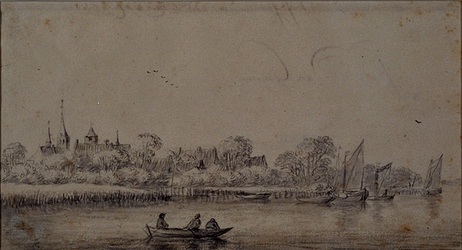 XXXI-611 Het dorp IJsselmonde aan de Maas.