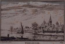 XXXI-612 Nederlands-Hervormde Adriaen Janszkerk te IJsselmonde met omgeving, gezien over de Nieuwe Maas. Onder de prent ...