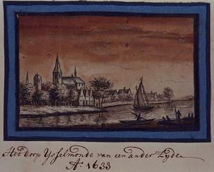 XXXI-615 Gezicht op IJsselmonde.Voorstelling in spiegelbeeld (zie XXXI 612).).