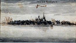 XXXI-616 IJsselmonde vanaf de Nieuwe Maas IJsselmonde den 23 April 1674 .