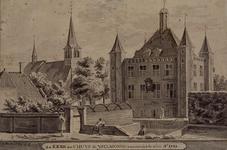 XXXI-637 de Kerk en t' Huys te Yselmonde van den dyk te zien Ao 1732. Kerk en Huis te IJsselmonde.