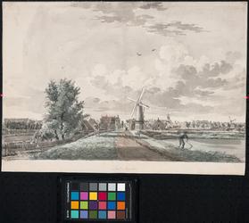 XXXI-70 De Mathenesserdijk uit noordelijke richting gezien met op de achtergrond Delfshaven. In het midden korenmolen ...
