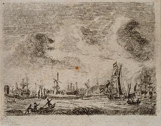 XXXI-72 Gezicht op de Nieuwe Maas met de Delfshaven, uit het zuiden.