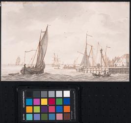 XXXI-78 Het westelijk en verderop het middelste havenhoofd van Delfshaven aan de Nieuwe Maas. De gebouwen rechts staan ...