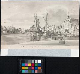 XXXI-87 Achterhaven uit het zuiden. Rechts het magazijn van de VOC; rechts daarvan de toegang vanuit de Achterhaven ...