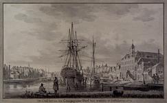 XXXI-88 Achterhaven uit het zuiden. Rechts het magazijn van de VOC; rechts daarvan de toegang vanuit de Achterhaven ...