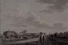 XXXI-90 Gezicht op de zeedijk (later Havenstraat genoemd) uit zuidelijke richting. Links de scheepswerf van de VOC met ...