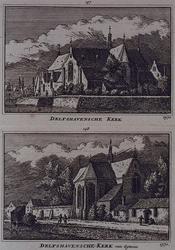 XXXI-99-3-EN-4 3. Gezicht op de voor- en zuidzijde van de kerk aan de Aelbrechtskolk.4. Gezicht op het koor en de ...
