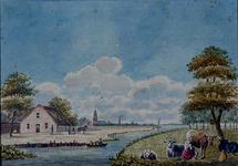 XXXII-10-1 Hollands landschap met onder andere een boerderij, een kerkje, een molen en een melkende boerin.
