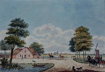XXXII-10-2 Hollands landschap met onder andere een boerderij, een molen en op de achtergrond een dorpje .