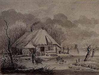 XXXII-16 Winterlandschap met boerderij en op de achtergond een kerk.