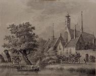XXXII-2 Een kerk of klooster met ooievaarsnest.