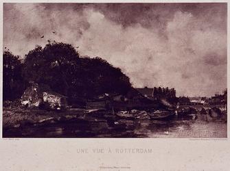 XXXII-23 Landschap met huisjes aan het water met een stenen boogbrug.