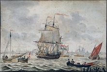 XXXII-29 Op het water schepen die de Hollandse vlag voeren. In de verte vage omtrekken van Rotterdam ? zeer ...