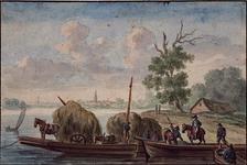 XXXII-33 Gezicht op de rivier de Lek met een veerpont.