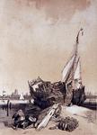 XXXII-36 Gezicht op het schip met op de achtergrond Dordrecht.