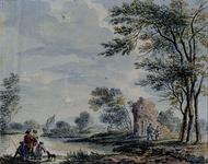 XXXII-9 Romantisch rivierlandschap met ruïne.