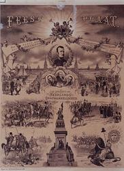 XXXIII-102 1888Feestplaat ter herdenking van de 75-jarige nederlandse onafhankelijkheid, 1813-1888.