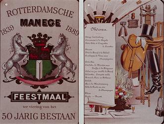 XXXIII-103-1 1889Menu van het feestmaal gehouden ter gelegenheid van het 50-jarig bestaan van de Rotterdamse Manege, ...