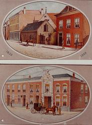XXXIII-103-3 1889Afbeelding van de oude en nieuwe Rotterdamse Manege, 1839 en 1889.