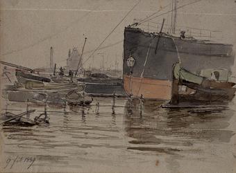 XXXIII-106 9 februari 1889Overstroming van de Boompjes, gezien vanuit het pand van de Nederlandse Handelsmaatschappij, ...
