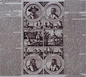 XXXIII-11 Afbeelding en beschrijving van de terechtstelling van de Bleiswijkse predikant Hendrick Slatius en drie anderen.