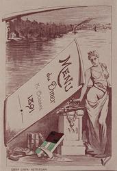 XXXIII-113 Menu van het afscheidsdiner op 8 oktober 1891 in Maison G.H.A. van den Velden van het aftreden van ...