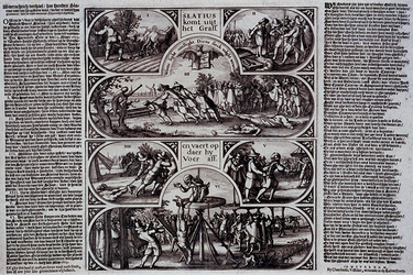 XXXIII-12 Afbeelding en beschrijving van de terechtstelling van Bleiswijkse predikant Hendrik Slatius en drie anderen.