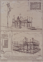 XXXIII-120 30 mei 1891Bezoek van H.H.M.M. de Koningin en de Koningin Moeder.Versiering van de Wilhelminakade ter ...