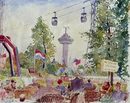 XXXIII-1250-13-1 25 maart - 25 septemberFloriade.Van het Ahoy' restaurant naar het Park gezien.