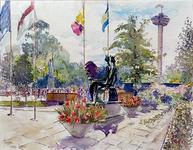 XXXIII-1250-17-4 25 maart - 25 september 1960Floriade.Ingang Koningshof met de beelden van Henri Moore.