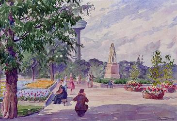 XXXIII-1250-21-07-02-1 25 maart - 25 september 1960Floriade.Het Park met het standbeeld van Tollens en de Euromast.