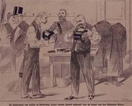 XXXIII-131 1891Bezoek van de Koningin en de Duitse Keizer.Spotprent op het ten geschenke krijgen van een nieuwe hoed.