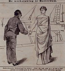 XXXIII-142 1896De werkstaking.Politieke prent op de bootwerkersstaking.