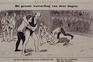 XXXIII-143 Mei 1896De werkstaking.Politieke prent op de bootwerkersstaking.