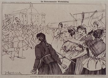 XXXIII-144 1896De werkstaking.Politieke prent op de bootwerkersstaking.