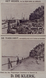 XXXIII-146 1897Gemeenteraadverkiezing.Verkiezingsbiljet der Liberalen met gezichten op de Boompjes in heden en toekomst.