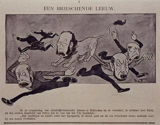 XXXIII-149 1898Tweede Kamerverkiezing.Spotprent op de verkiezingsrede van de heer Bliek.