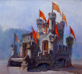 XXXIII-151-00-01-1 31 augustus - 6 september 1898De Kroningsfeesten - 20 ontwerpen voor praalwagens-1: Kasteel.