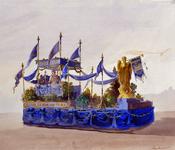 XXXIII-151-00-01-20 Ontwerp voor praalwagens, te gebruiken bij de kroningsfeesten van koningin Wilhelmina van 31 ...