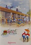 XXXIII-159 31 augustus - 6 september 1898Een groep uit de optocht van de Kroningsfeest bij het Westnieuwland.