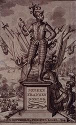 XXXIII-2-01 1489Jonker Frans van Brederode als ridder op voetstuk met vaandels, pieken, kanon en trom als decor. Op de ...